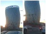 """北京一处建筑外形扭曲被戏称为""""大肠塔"""""""